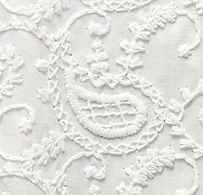 "Embroidered Cotton Fabric. White-on-White Or Dye It.  43"" Wide, One Yard"