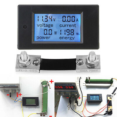 100A DC Digital Power Meter Energy Monitor Module Voltmeter Ammeter with Shunt