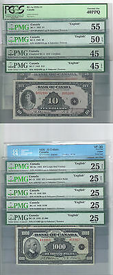 Bank Of Canada 1935 English Complete Set $1 Through $100 Plus $1000 Graded Notes