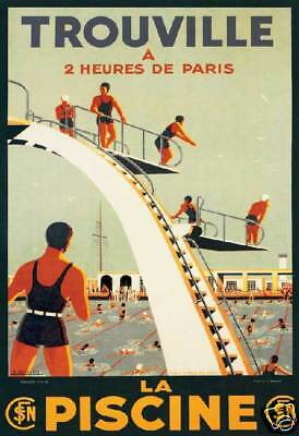 Trouville France Piscine Swim club divers 1930' deco art poster print SKU1464