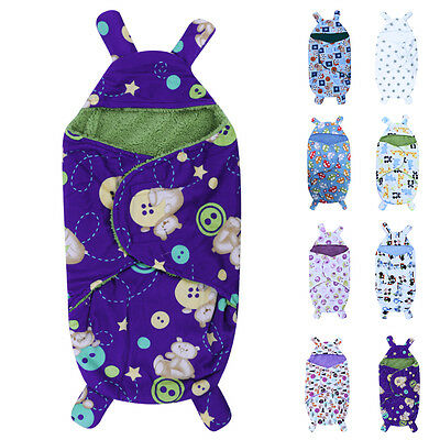 0-6M Newborn Baby Infant Fleece Swaddle Me Swaddling Blanket Wraps Sleeping Bag