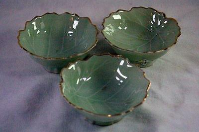 Pottery Leaf Shaped Mint Green Set of 3 Nut Dishes