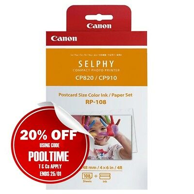 Canon Genuine RP-108 High Yield Ink+Paper Set for Selphy CP820/CP910/CP1000 108x