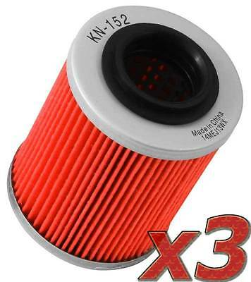 K&N 3 Pack: Oil Filter - KN-152 (3) for Motorcycle Applications