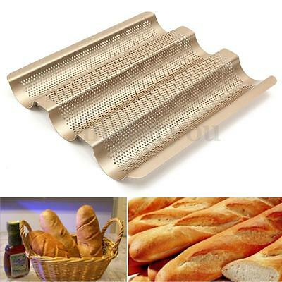 Non Stick Baguette French Bread Loaf Tray 3 Rolls Bread Baking Pan 26.3*23.6CM