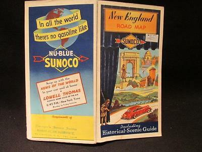 Sunoco 1941 Rand McNally Road Map New England & Historical Scenic Guide
