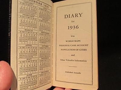 Unused 1936 Pocket Diary World Maps Personal Cash Account Populations & More
