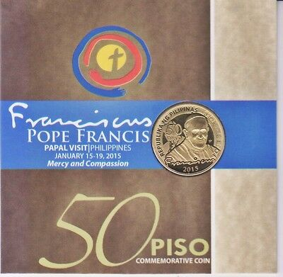 WIPHILIPPINES 2015 NEW UNC 50p Pope Francis Coin & Se-Tenant B/4 stamps $10.99