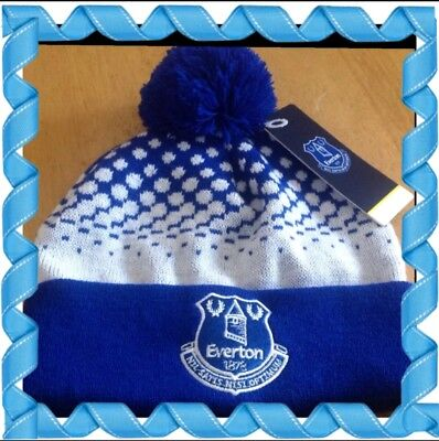 Official Everton Adults bobble Hat Royal And White