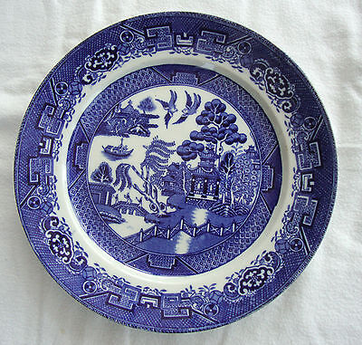 """A Vintage Fenton Pottery Chinese Willow Flow Blue Plate - Ye Old Willow   9"""""""