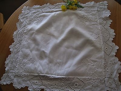C1920 ROMANTIC HndMd DENSE SILKY WHITEWORK EMBROIDERY&CUTWORK  EURO SHAM ~ExCond