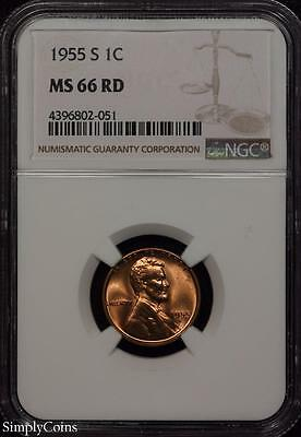 1955-S Lincoln Wheat Penny Cent ~ NGC MS66 RED ~ STUNNING!