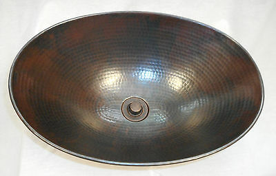 "17""  Oval Copper Vessel Vanity Sink with Drain Choice"