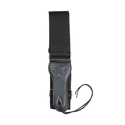 Artist S1008 Cotton guitar strap with leather ends - Black - New