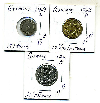 Lot,3 Germany Coins 1909-1923,VF+ to AU