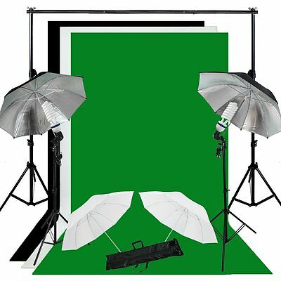 Studio Photo White Black Green Screen Backdrop Light Stand Umbrella Lighting  LE