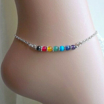 New Silver Amethyst Anklet Chain Ankle Bracelet Foot Jewelry Barefoot Sandal