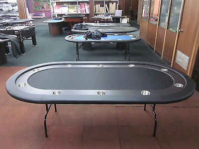 "84""  7 Foot Pro Poker Table With Speed Felt [Black] + Stainless Steel Jumbo Cup"
