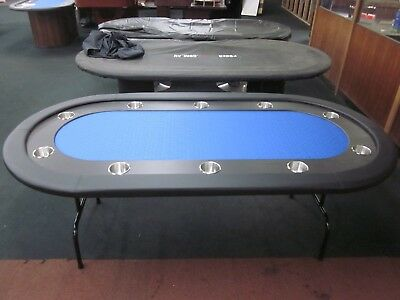 """96""""  8FOOT PRO POKER TABLE WITH SPEED FELT [Blue] + STAINLESS STEEL JUMBO CUP"""