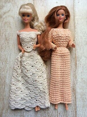 Lot Of 2 Vintage Barbie Dolls In Louise Hand Crocheted Dresses!  Beautiful!