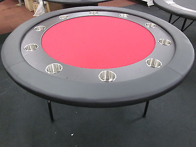 "58"" Round Professional Poker Table + Timber Track +  Foldable  Leg [Red Sf]"