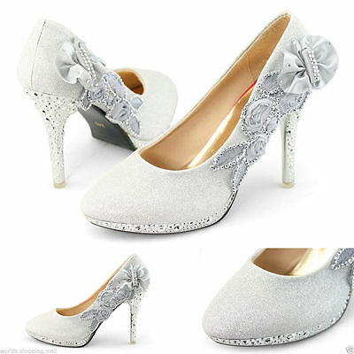Argent Chaussures Mariage - Superbe Strass Mariage Talon Haut Mariage – Taille 8