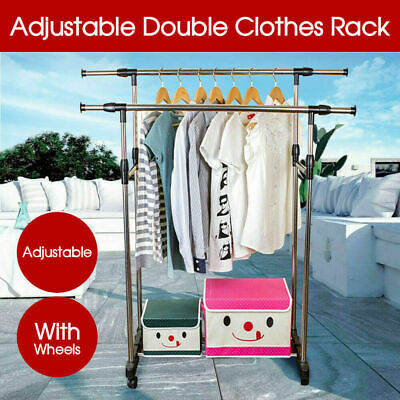 Adjustable Double Stainless Shelf Hanger Garment Holder Clothes Rack Coat AU