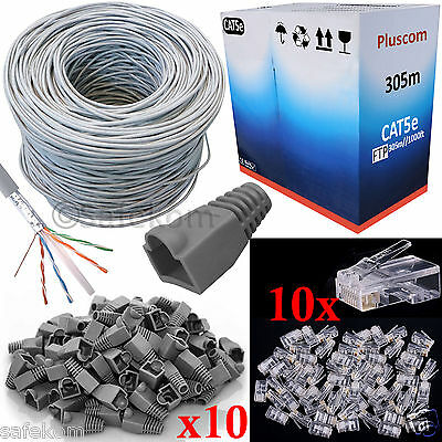 305M RJ45 Cat5e Roll Reel Ethernet FTP Patch LAN Cable+ 10 Boots & 10 Connectors