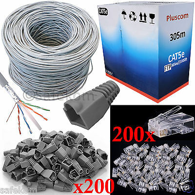 305M RJ45 Cat5e Netowrk Ethernet FTP Bulk Roll Patch Cable+ 200 Boot & Connector