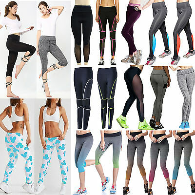 Womens Ladies Yoga Leggings Stretch Fitness Running Gym Sport Wear Pants Trouser