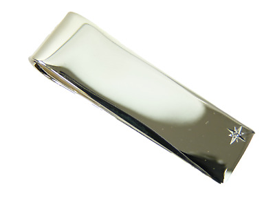 NEW - Sterling Silver MONEY CLIP - With Diamond - Boxed