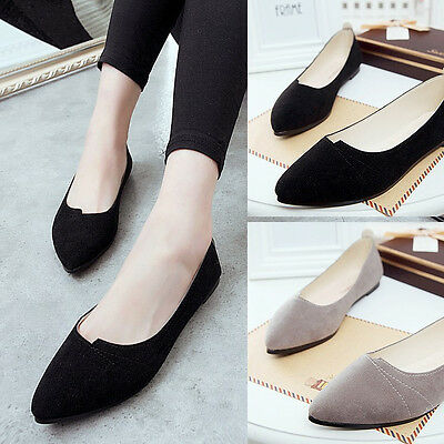 New Women Ladies Pointed Toe Loafer Ballet Pumps Casual Flat Shoes UK Size 3-5.5