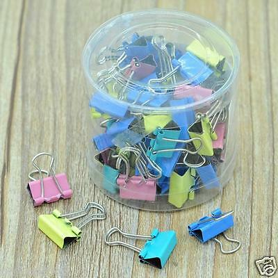 60x 15mm Colorful Metal Paper File Ticket Binder Clips Office School Supply Clip