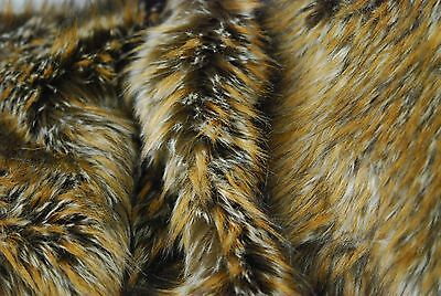 Super Luxury Faux Fur Fabric Material - LONG BROWN BEIGE FLECK