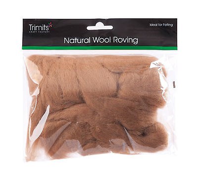 TRIMITS Natural 100% Wool Roving For Needle Felting 50g - COFFEE