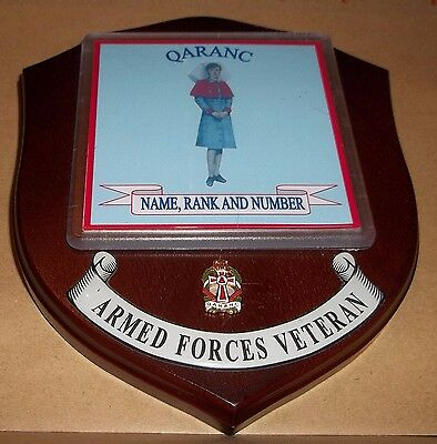 QARANC Veteran Wall Plaque with name rank & number printed free.