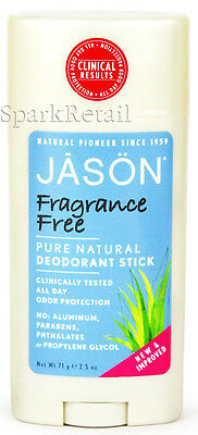 Jason Organic FRAGRANCE FREE Pure Natural DEODORANT Stick 71g All Day Protection