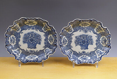 Antique Superb Pair of Dutch Delft Presentiers Flower-Basket Circa 1750 MARKED