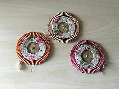 Chinese Paper Accordion Lantern Lot of 3 Round Asian Toy vtg Party Decor 0610