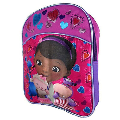 "Doc McStuffins Little Girls with Glitter Print Mini 12"" Backpack School Bag Kids"