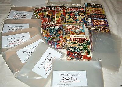 PACK OF 100 x SILVER AGE SIZE COMIC BAGS. 1960'S COMICS. Ultra Clear Polyprop.