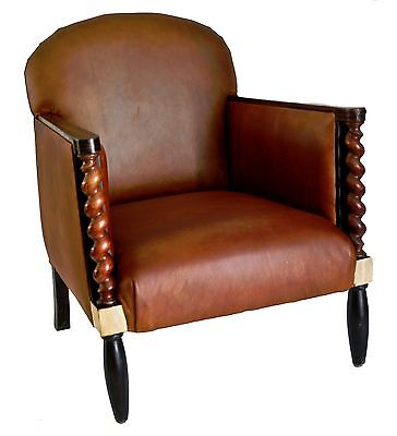 Pair of FRENCH ART DECO LEATHER CLUB  CHAIRS DUFRENE