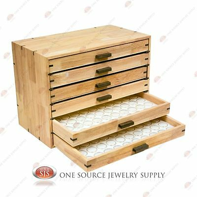 6 Draw Wooden Gemstone Storage Organizer Nicknacks Travel Display Box Wood
