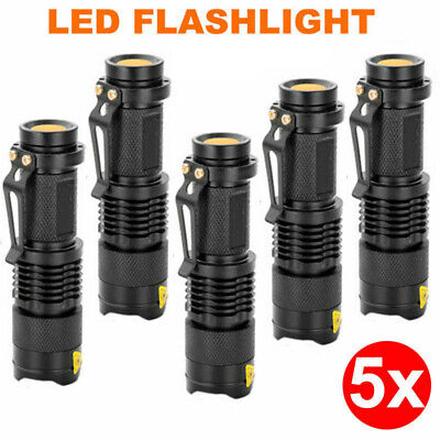 5x Mini CREE Q5 LED Flashlight Torch Adjustable Focus Zoom Light Lamp 1200LM AU