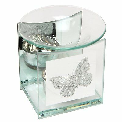 Hestia Oil Wax Tart Burner with Glitter Butterfly Design Glass Home Decor Gift