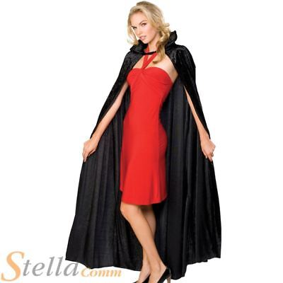 Deluxe Long Velvet Cloak Vampire Dracula Halloween Fancy Dress Costume Cape