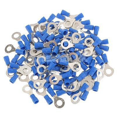 100x Blue Insulated Wire Ring Connector Electrical Crimp Terminal Hole 6.4mm
