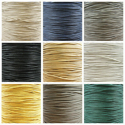 WAXED COTTON CORD 1mm, 1.5mm & 2mm *35 COLOURS* 2m, 5m, 10m & 45m WAX STRINGING