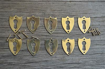 10 brass Victorian shield furniture escutcheon antique box keyhole plates SE2