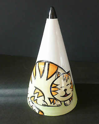 Lorna Bailey Art Deco Sugar Shaker Embossed 3D Cat New Signed Hand Painted